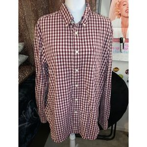 Men's Red Plaid Nautica Button Up Long Sleeve